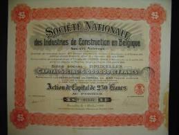 """Action""""Sté Nationale Des Industries De Construction En Belgique""""Bruxelles 1919 Avec Tous Les Coupons. - Industrie"""