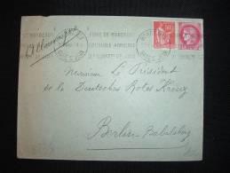 LETTRE TP CERES 2 F + PAIX 50 C OBL. MECA. 12 VII 40 BORDEAUX (33 GIRONDE)  POUR CROIX-ROUGE A BERLIN ALLEMAGNE - Marcophilie (Lettres)