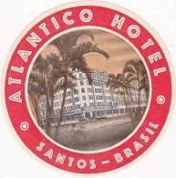 BRASIL SANTOS ATLANTICO HOTEL VINTAGE LUGGAGE LABEL - Hotel Labels