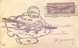 1931  July 25 Air Circus  Flint MI  Souvenir Cover - Air Mail