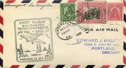1930  CAM 33  First Flight  Shreveport LA To Los Angeles CA - Air Mail
