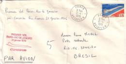 CONCORDE-1ER VOL PARIS-RIO DE JANEIRO 21 JANVIER 1976-CACHET PARIS AVIATION 21-1-1973. - Luchtpost