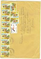 VEND TIMBRES DE TANZANIE N° 3148 + 3994 X 12 DONT 1 BANDE DE 9 + 1 PAIRE  , SUR LETTRE !!!! - Tanzania (1964-...)