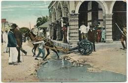 Port Au Prince Coin Rue Pavée Et Rue Du Centre Attelage Ane Canon Donkey Cart Mule Mulet - Haïti