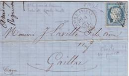 N° 60 Ceres Obl ETOILE EN PASSE PARIS Sur Lettre De La GARE D' AMIENS Somme Pour Gaillac Tarn 4 Novembre 1871 TTB ET RAR - 1849-1876: Classic Period
