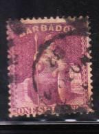 Barbados 1875-78 Britannia 1sh Used Perf 14 - Barbados (...-1966)