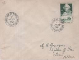 Lettre Centenaire Du Timbre Poste - Paris - 1er JUIN 1949 Sur Timbre N° 828 - Marcophilie (Lettres)
