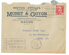 Enveloppe Macon Monet Goyon 1951 - Vieux Papiers