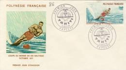 FDC  POLYNÉSIE  TAHITI  1971 COUPE DU MONDE SKI NAUTIQUE # SPORT # OCEAN # - Water-skiing