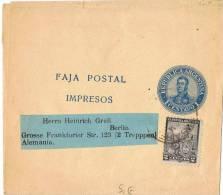 L-ARG5 - Entier Postal Bande Pour Journaux 1 Centavo Avec Affranchissement Complémentaire Pour L'Allemagne