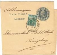 L-ARG8 - Entier Postal Bande Pour Journaux 2 Centavos Avec Affr. Compl. à Destination De L'Allemagne