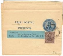 L-ARG10 - Entier Postal Bande Pour Journaux 1 Centavo Avec Affr. Compl. à Destination De L´Allemagne