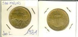 San Marino, 200 Lire 1981 (animali, Bue) - Saint-Marin