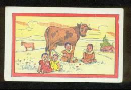 CUTE COW & 4 BABIES NURSING ON NIPPLE LINES TIED TO COW COMIC POSTCARD - Comics