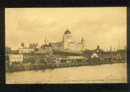 LIVERPOOL ENGLAND UK POSTCARD 1909 LANDING STAGE & NEW DOCK BOARD OFFICES SEPIA - Liverpool