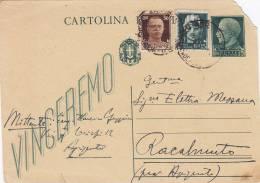 AGRIGENTO  12.10.1944 /  RACALMUTO  - Card_ Cartolina Postale Da Cent. 15 + 15 + 30 - 1900-44 Vittorio Emanuele III