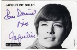 JACQUELINE DULAC  PHOTO ORIGINALE DEDICACEE ANNEE 1950 / 60  -  PHOTO CARTONNEE - Dédicacées