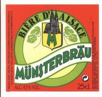 étiquettes De Bière -  Münsterbräu  -  Brasserie Adelshoffen à Schiltigheim (67) - Cerveza