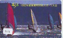 Télécarte Japon * BATEAU VOILIER * Sailing SHIP (213) Phonecard Japan *SCHIFF * Segelschiff * Zeilboot * YACHT * SURFEN - Boten