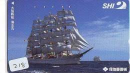 Télécarte Japon * BATEAU VOILIER * Sailing SHIP (218) Phonecard Japan *SCHIFF * Segelschiff * Zeilboot *YACHT * SCHOENER - Boten