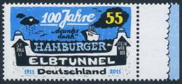 !a! GERMANY 2011 Mi. 2890 MNH SINGLE W/ Right Margin -Elbe Tube At Hamburg - Ungebraucht