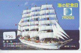 Télécarte Japon * BATEAU VOILIER * Sailing SHIP (220) Phonecard Japan * SCHIFF * Segelschiff * Zeilboot * YACHT * - Boten