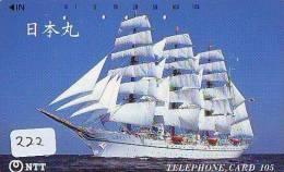 Télécarte Japon * BATEAU VOILIER * Sailing SHIP (222) Phonecard Japan * SCHIFF * Segelschiff * Zeilboot * YACHT * - Boten