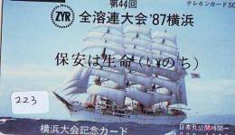 Télécarte Japon * BATEAU VOILIER * Sailing SHIP (223) Phonecard Japan * SCHIFF * Segelschiff * Zeilboot * YACHT * - Boten