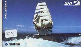 Télécarte Japon * BATEAU VOILIER * Sailing SHIP (224) Phonecard Japan * SCHIFF * Segelschiff * Zeilboot * YACHT * - Boten
