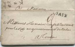 AIX (en Provence) Lenain N° 5 / 1757 - Marcophilie (Lettres)
