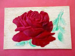 Rose Made Of Silk Thick Card  --1910 Cancel  Age Discloration Back Side   == =  = =- Ref  624 - Unclassified