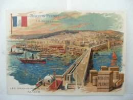 Chromo Biscuit PERNOT Les Grands Ports ALGER - Pernot