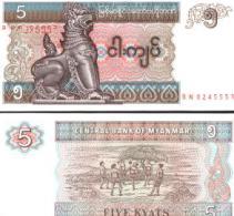 Myanmar #70b, 5 Kyats, ND (1997), UNC - Myanmar