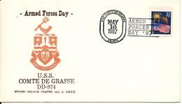 USA Cover Armed Forces Day 16-5-1987 U.S.S. Comte De Grasse DD-974 With Cachet - Enveloppes évenementielles