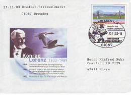 407j: Sonderbeleg Konrad Lorenz/ Graugänse Auf Deutschland- Ganzsache 2003 - Geese