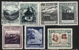 7 Valeurs De La Série Courante De 1930 - Liechtenstein
