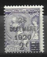 2 Sur 5 F. Violet Du 28 Decembre 1920 - Monaco
