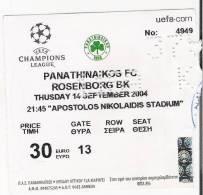 Panathinaikos Vs Rosenborg BK/Football/UEFA Champions League Match Ticket - Tickets D'entrée