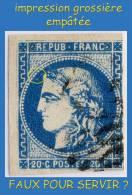 N° 46B III REP. 2 CÉRÈS ÉMISSION DE BORDEAUX 1870 - BLEU PROFOND FONCÉ - CASE 15 -  OBLITÉRÉ ST / B -- - 1870 Bordeaux Printing