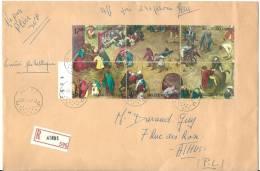Belgique:  1437/ 1442 Sur Lettre Recommandée (Pierre Bruegel) - Arts