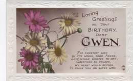 DECKLE EDGED BIRTHDAY CARD FOR GWEN - Firstnames