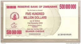 Zimbabwe - Banconota Non Circolata Da 500.000.000 Dollari - 2008 - Zimbabwe