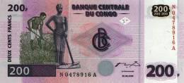 CONGO DEMOCRATIC REPUBLIC 200 FRANCS 2000 PICK 95 UNC - Congo