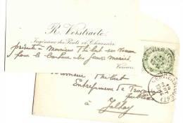 VERVIERS  R. Vestraete Ingénieur  Des Ponts & Chaussée  1906 Adressé à Rodolphe Sagehomme Jalhay - Cartes De Visite