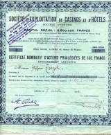 Société D' Exploitation De Casinos Et D'Hôtels Action Privilégiée De 100 Francs De 1925 - Casino