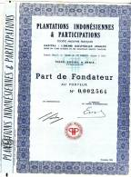 Plantations Indonésiennes Et Participations Part De Fondateur De 1962 - Asie
