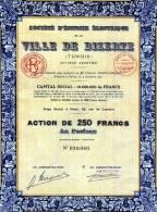 Société D' Energie Electrique De La Ville De Bizerte Action De 250 Francs De 1939 - Afrique