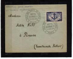 Z 889 Cachet Manuel Commémoratif Gala Des Gants De France Hotel George V - Postmark Collection (Covers)