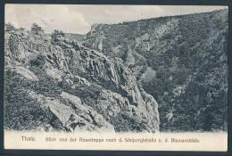 12392 - Thale, Blick V.d. Rosstrappe Nach Walpurgishalle U. Bismarckfels (Kleinformat, Gel. 1910) - Thale