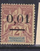 MADAGASCAR N° 51 0.01 S 2C LILAS BRUN SUR PAILLE NEUF AVEC CHARNIERE - Madagascar (1889-1960)